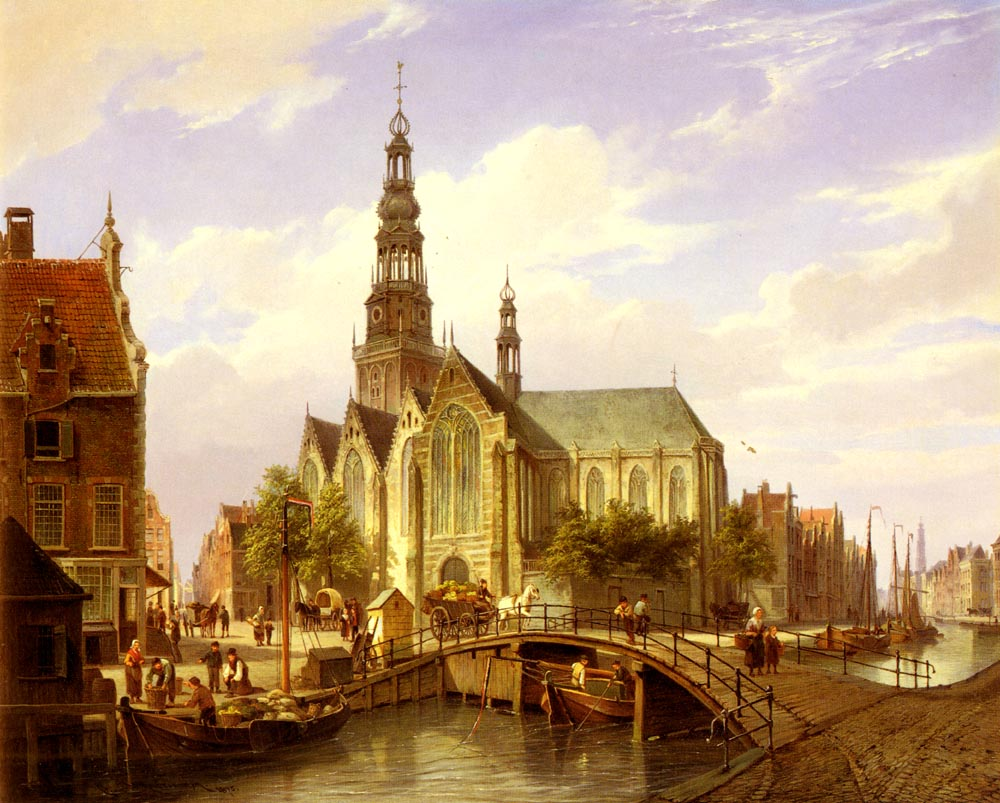 A Capriccio View Of Amsterdam | Cornelis Christiaan Dommelshuizen | Oil Painting