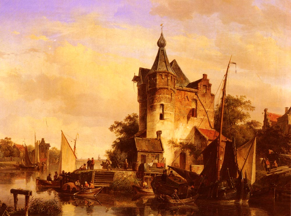 Along The Canal | Cornelis Springer | Oil Painting