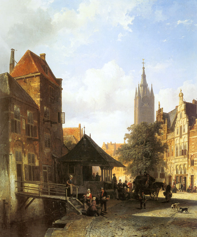 Figures In A Street In Delft | Cornelis Springer | Oil Painting