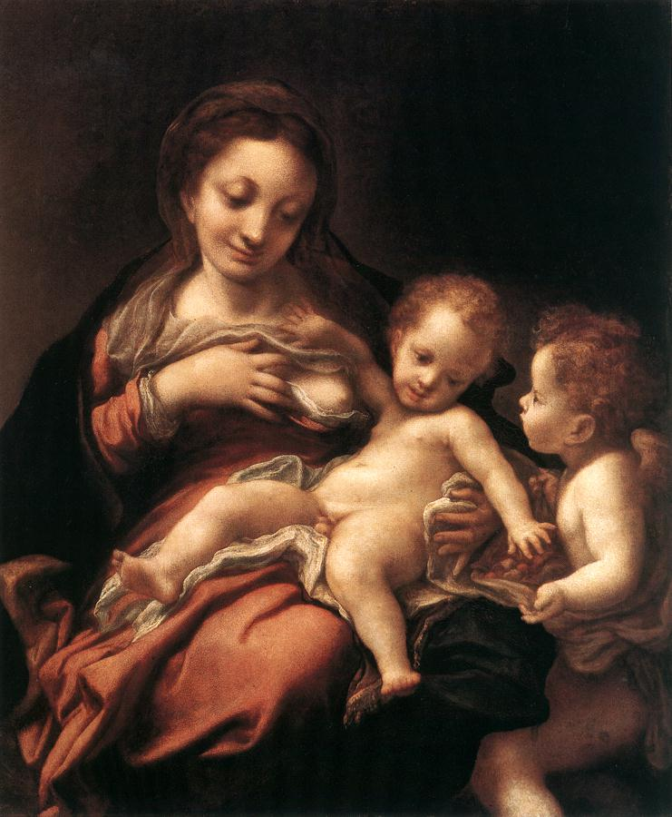 Virgin And Child With An Angel (Madonna Del L Atte) | Correggio | Oil Painting