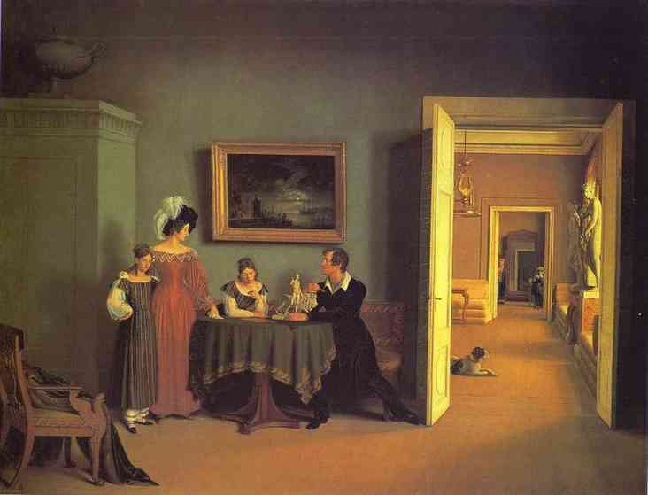 Self Portrait With Family 1830 | Count Feodor Tolstoy | Oil Painting