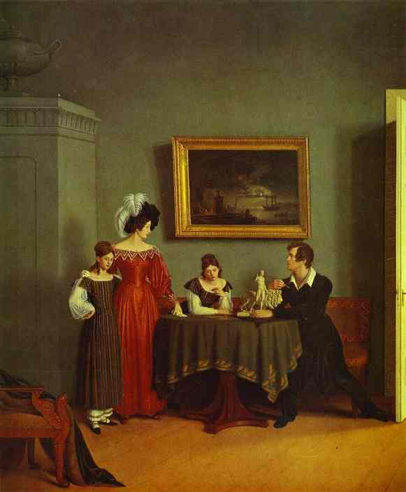 Self Portrait With Family Detail 1830 | Count Feodor Tolstoy | Oil Painting