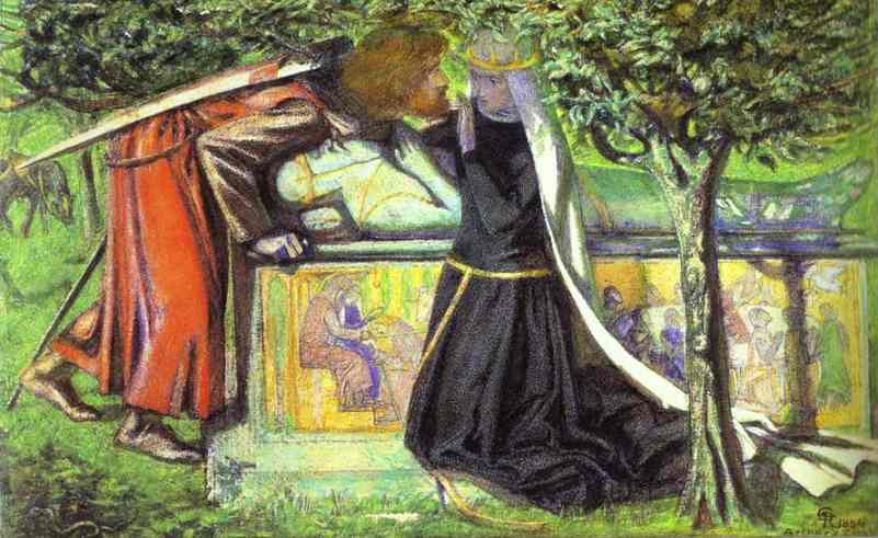 Arthurs Tomb The Last Meeting Of Lancelot And Guinevere 1854 | Dante Gabrie Rossetti | Oil Painting