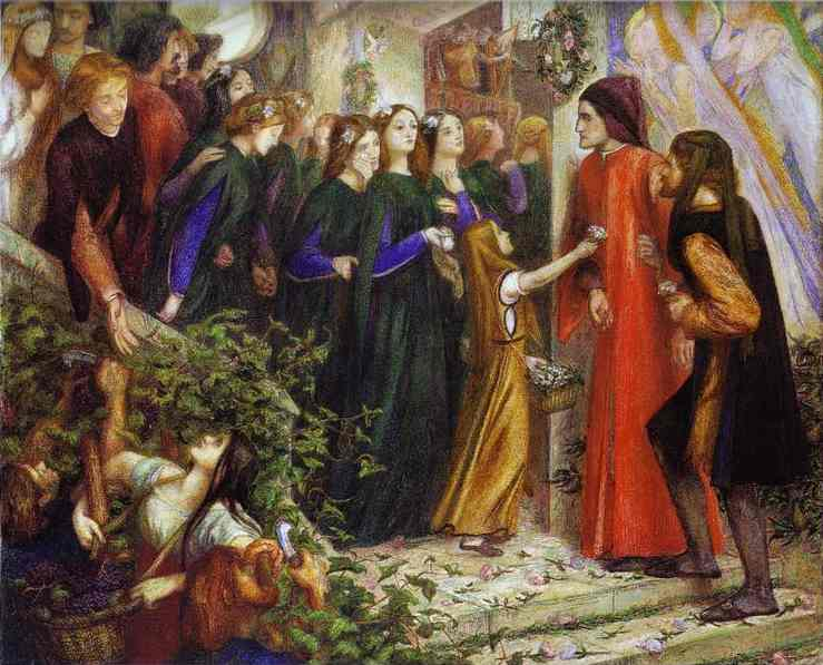 Beatrice Meeting Dante At A Marriage Feast Denies Him Her Salutation 1855 | Dante Gabrie Rossetti | Oil Painting
