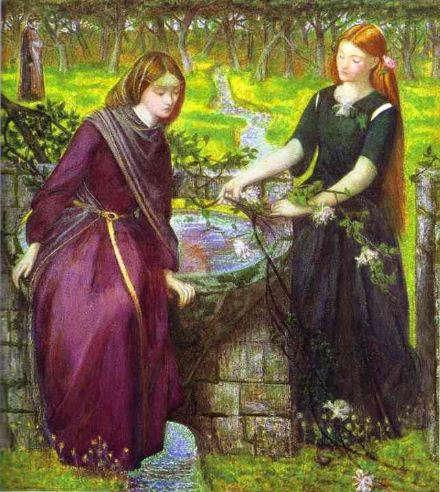 Dantes Vision Of Rachel And Leah 1855 | Dante Gabrie Rossetti | Oil Painting