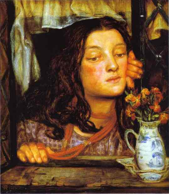 Girl At A Latrice 1862 | Dante Gabrie Rossetti | Oil Painting