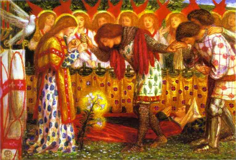 How Sir Galahad Sir Bors And Sir Percival Were Fed With The Sanc Grael But Sir Percivals Sister Died By The Way 1864 | Dante Gabrie Rossetti | Oil Painting