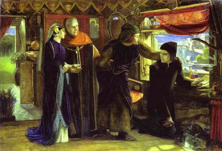 The First Anniversary Of The Death Of Beatrice Dante Drawing The Angel 1853 | Dante Gabrie Rossetti | Oil Painting