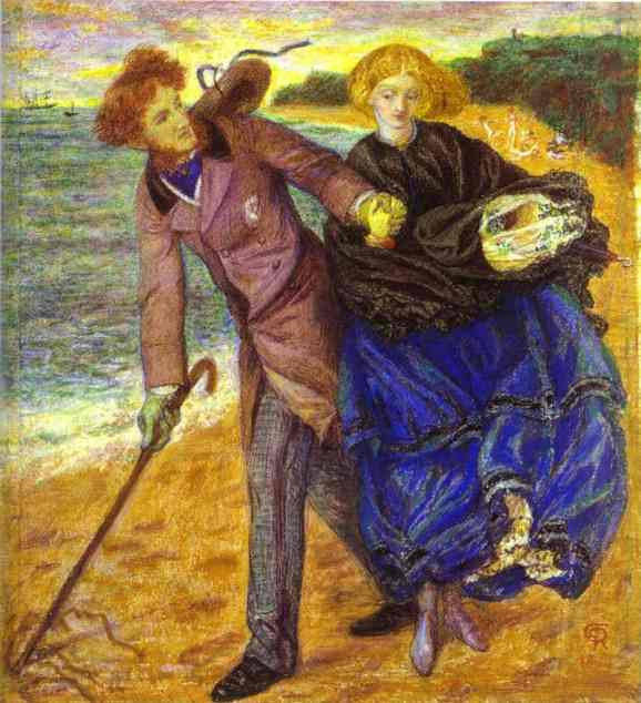 Writing On The Sand 1859 | Dante Gabrie Rossetti | Oil Painting