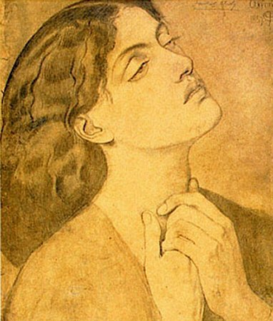 Study of Guinevere for Sir Lancelot in the Queen's Chamber 1857   Dante Gabriel Rossetti   Oil Painting