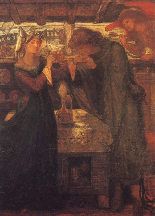 Tristram and Isolde Drinking the Love Potion 1867 | Dante Gabriel Rossetti | Oil Painting