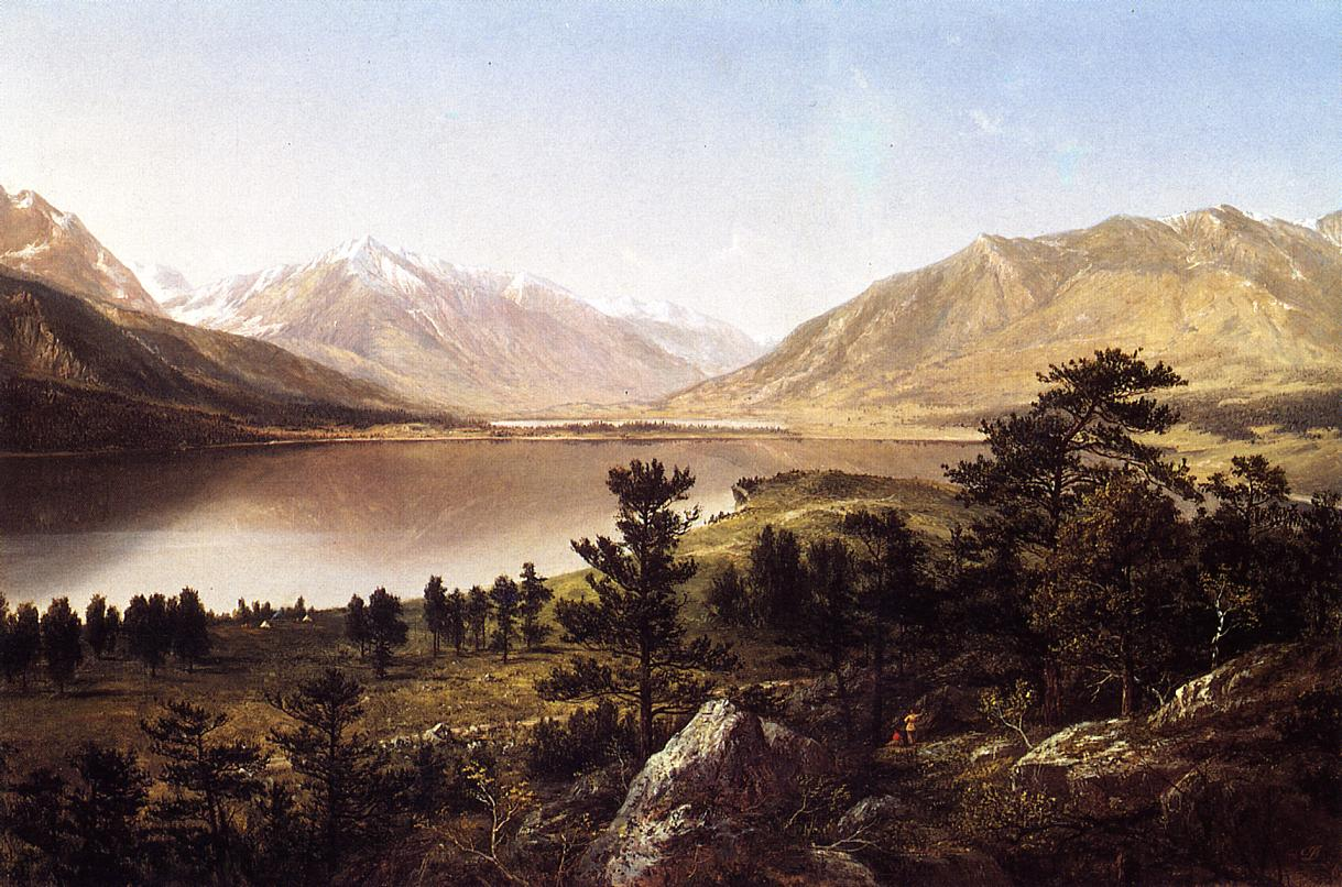 Upper Twin Lakes in the Colorado Rockies  1865 | David Johnson | Oil Painting