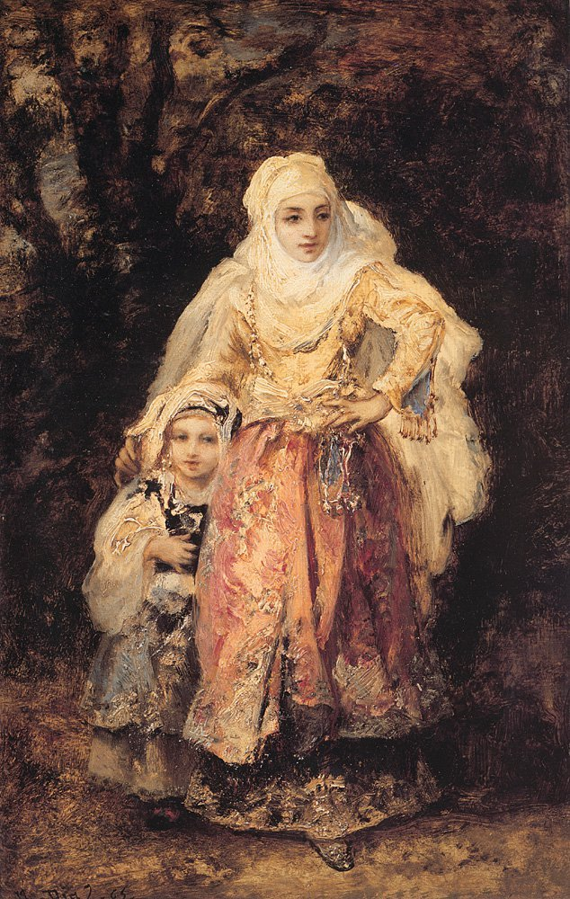 Oriental Woman and Her Daughter | De La Pena Narcisse Virgile Diaz | Oil Painting