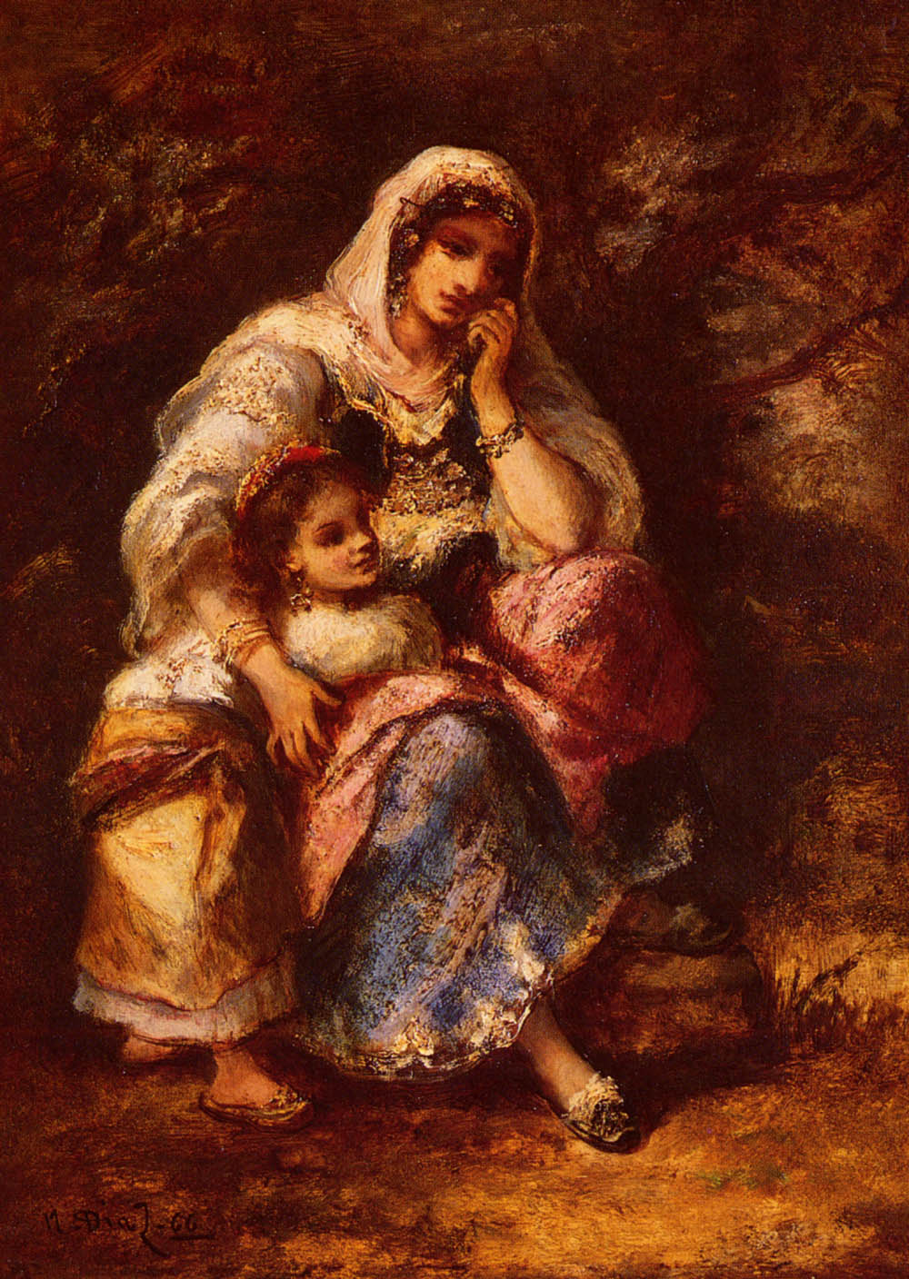 Gypsy Mother And Child | De La Pena Narcisse Virgile Diaz | Oil Painting