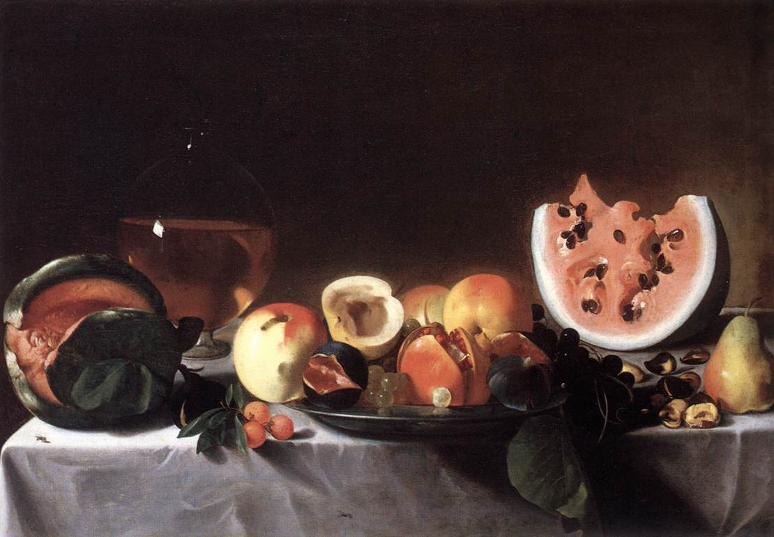Still Life With Fruit and a Carafe of White Wine 1615 | Del Saraceni Pensionante | Oil Painting