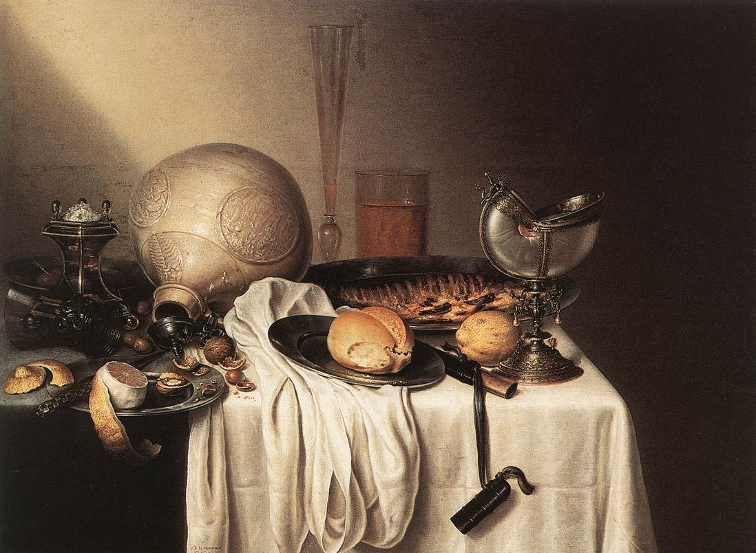 Still Life with a Bearded Man Crock and a Nautilus Shell Cup | De Stomme Maerten Boelema | Oil Painting