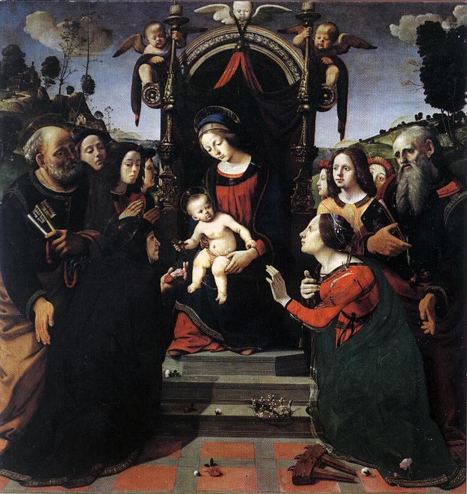 Mystical Marriage Of St Catherine Of Alexandria 1493 | Di Cosimo Piero | Oil Painting