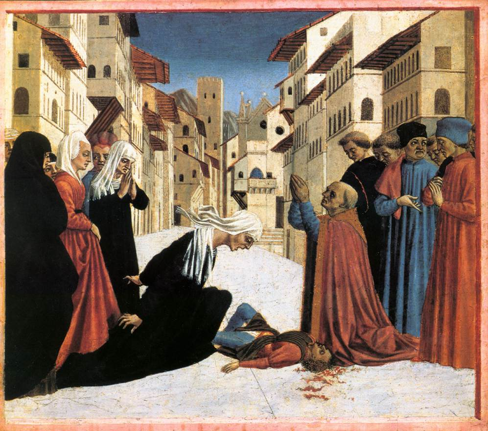 St Zenobius Performs A Miracle (Predella) 4 1445 | Di Michelino Domenico | Oil Painting