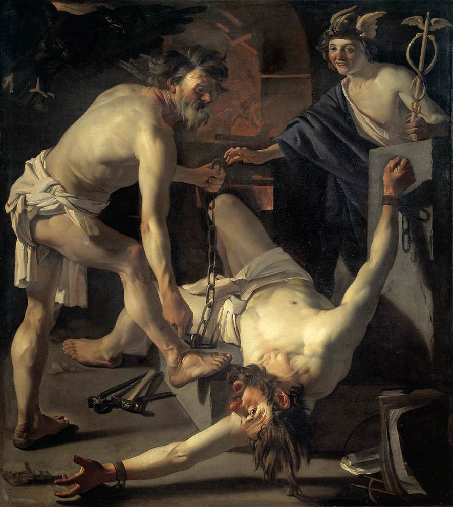 Prometheus Being Chained By Vulcan 1623 | Dirck Van Baburen | Oil Painting
