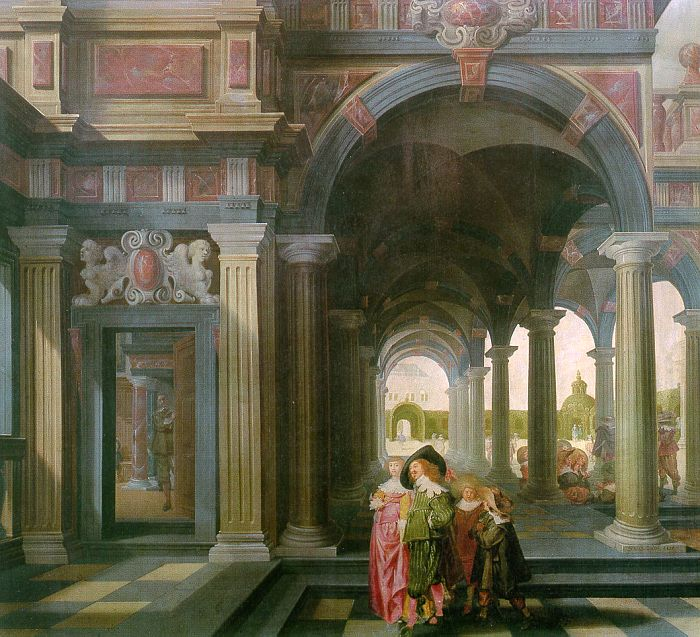 Palace Courtyard with Figures 1635 | Dirck Van Delen | Oil Painting
