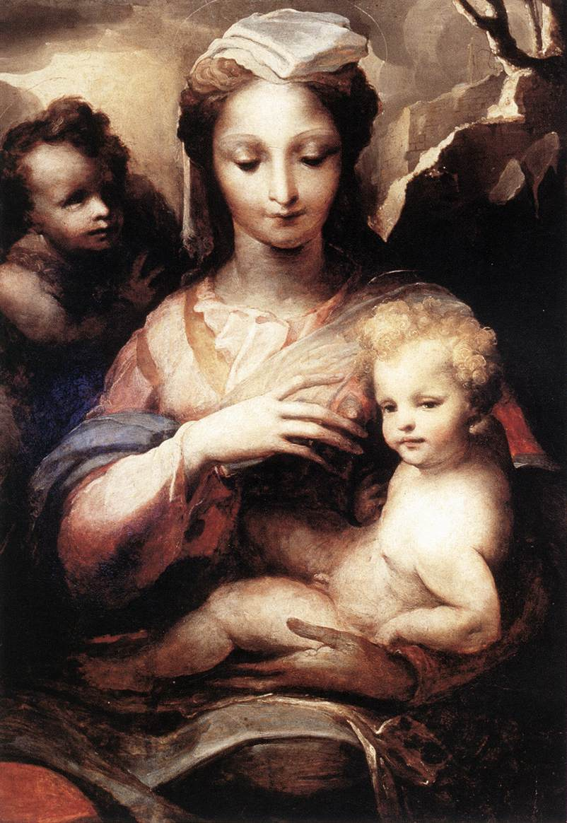 Madonna With The Infant Christ And St John The Baptist 1540 | Domenico Beccafumi | Oil Painting