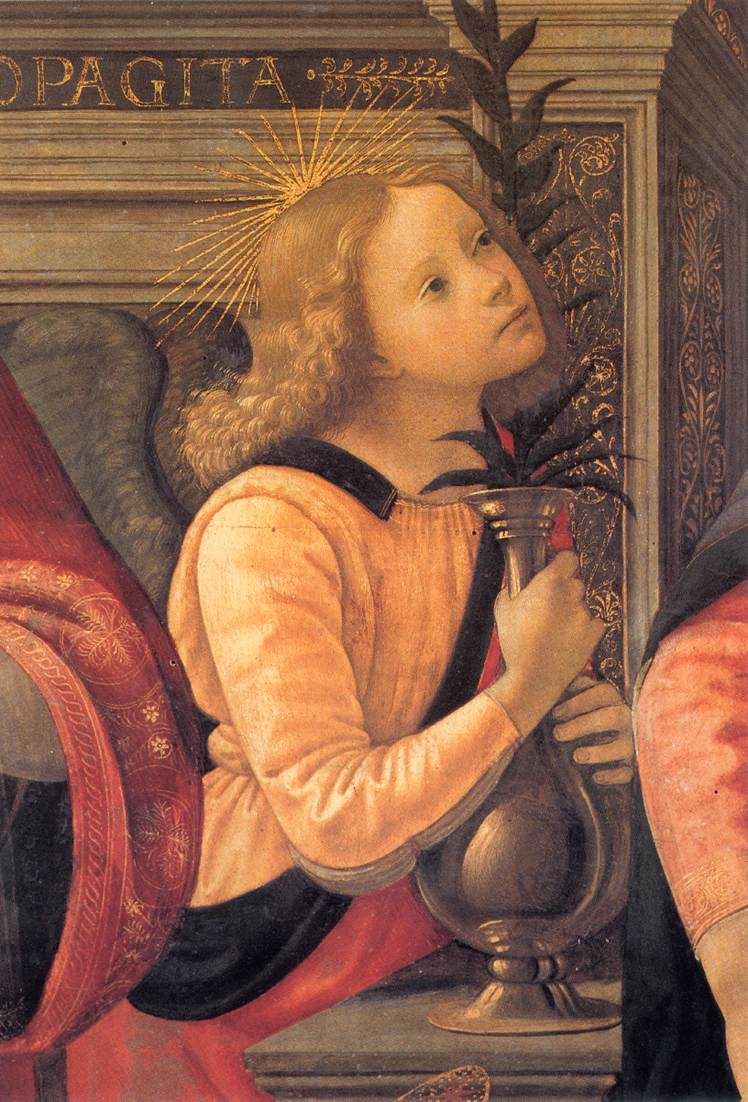 Madonna And Child Enthroned Between Angels And Saints (Detail) | Domenico Ghirlandaio | Oil Painting