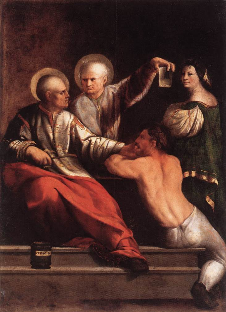 St Cosmas And St Damian 1534-42   Dosso Dossi   Oil Painting