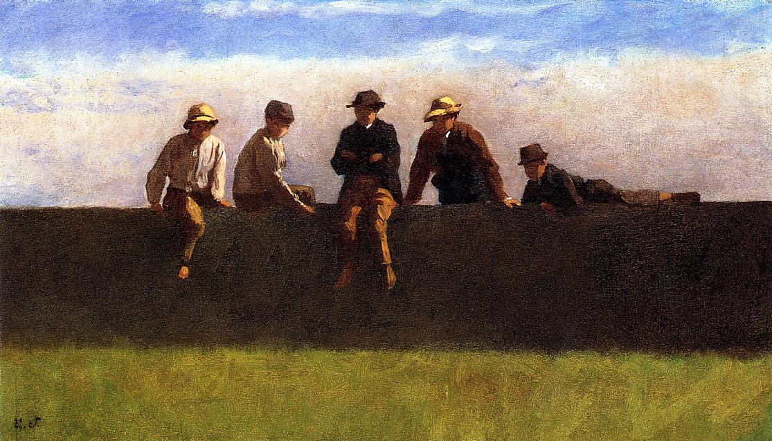 Five Boys on a Wall  1871 | Eastman Johnson | Oil Painting