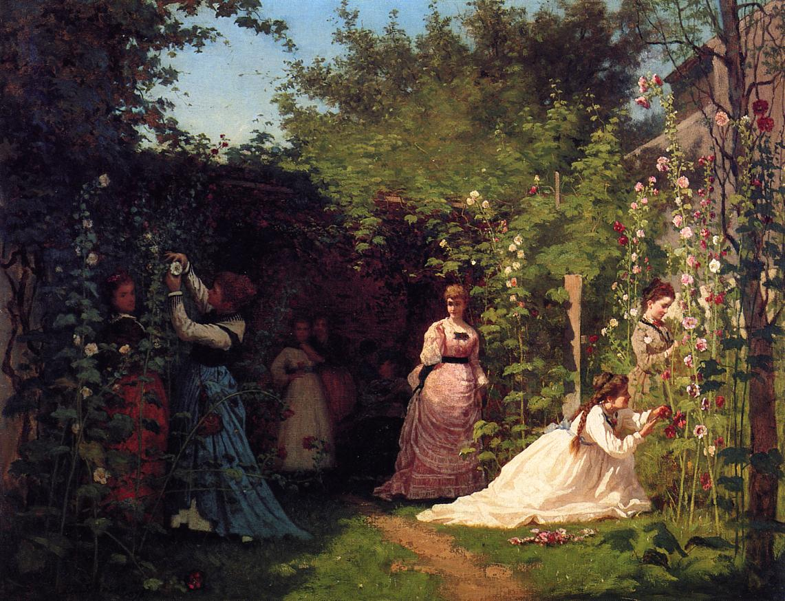Hollyhocks  1874-1876 | Eastman Johnson | Oil Painting