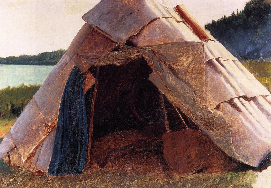 Ojibwe Wigwam at Grand Portage  1857 | Eastman Johnson | Oil Painting