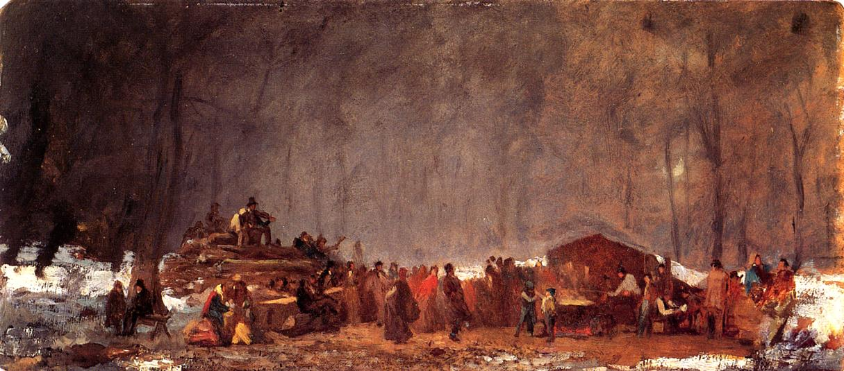 The Maple Sugar Camp Turning Off  1865-1873 | Eastman Johnson | Oil Painting
