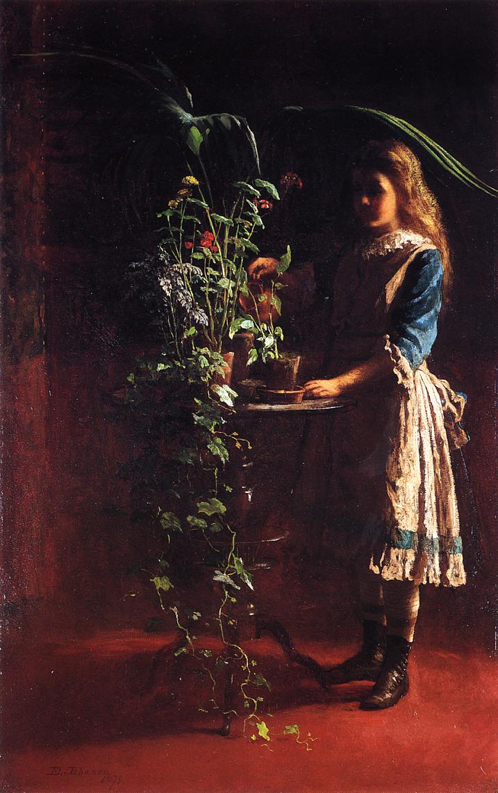 Watering Flowers  1879 | Eastman Johnson | Oil Painting