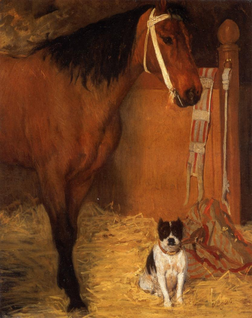 At the Stables Horse and Dog 1862 | Edgar Degas | Oil Painting