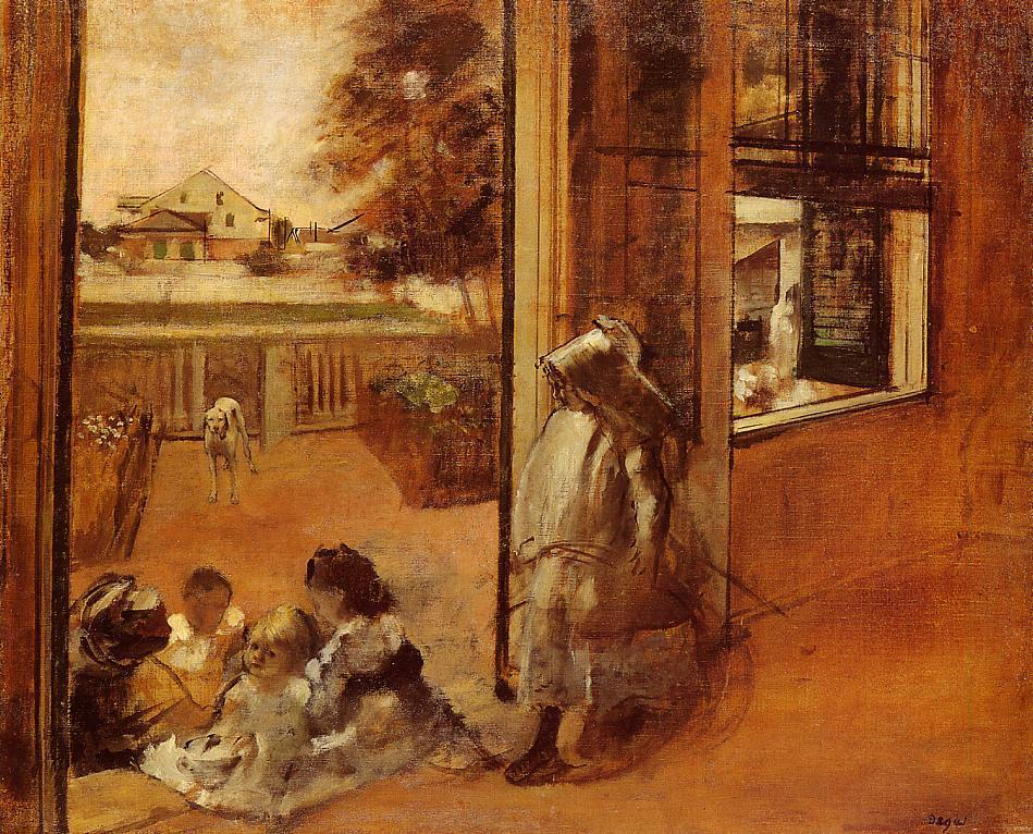 Children on a Doorstep 1872 | Edgar Degas | Oil Painting