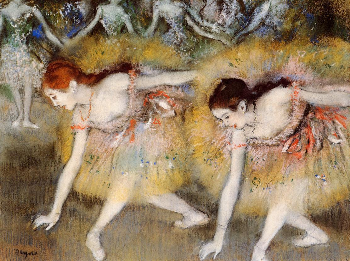 Dancers Bending Down (aka The Ballerinas) 1885 | Edgar Degas | Oil Painting