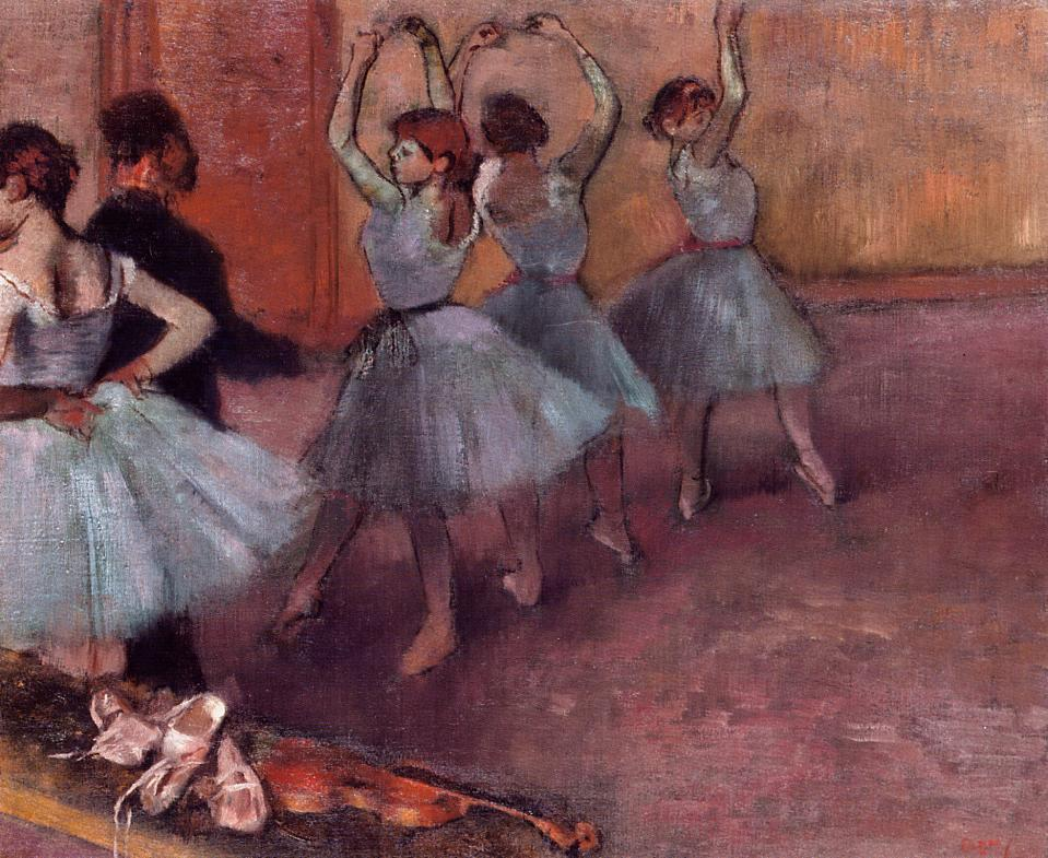 Dancers in Light Blue (aka Rehearsing in the Dance Studio) 1882 | Edgar Degas | Oil Painting
