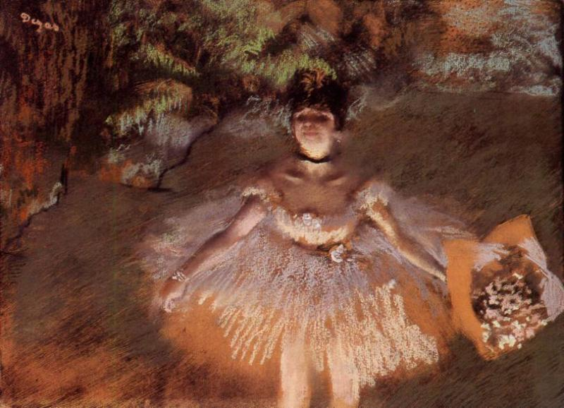 Dancer Onstage with a Bouquet 1876   Edgar Degas   Oil Painting