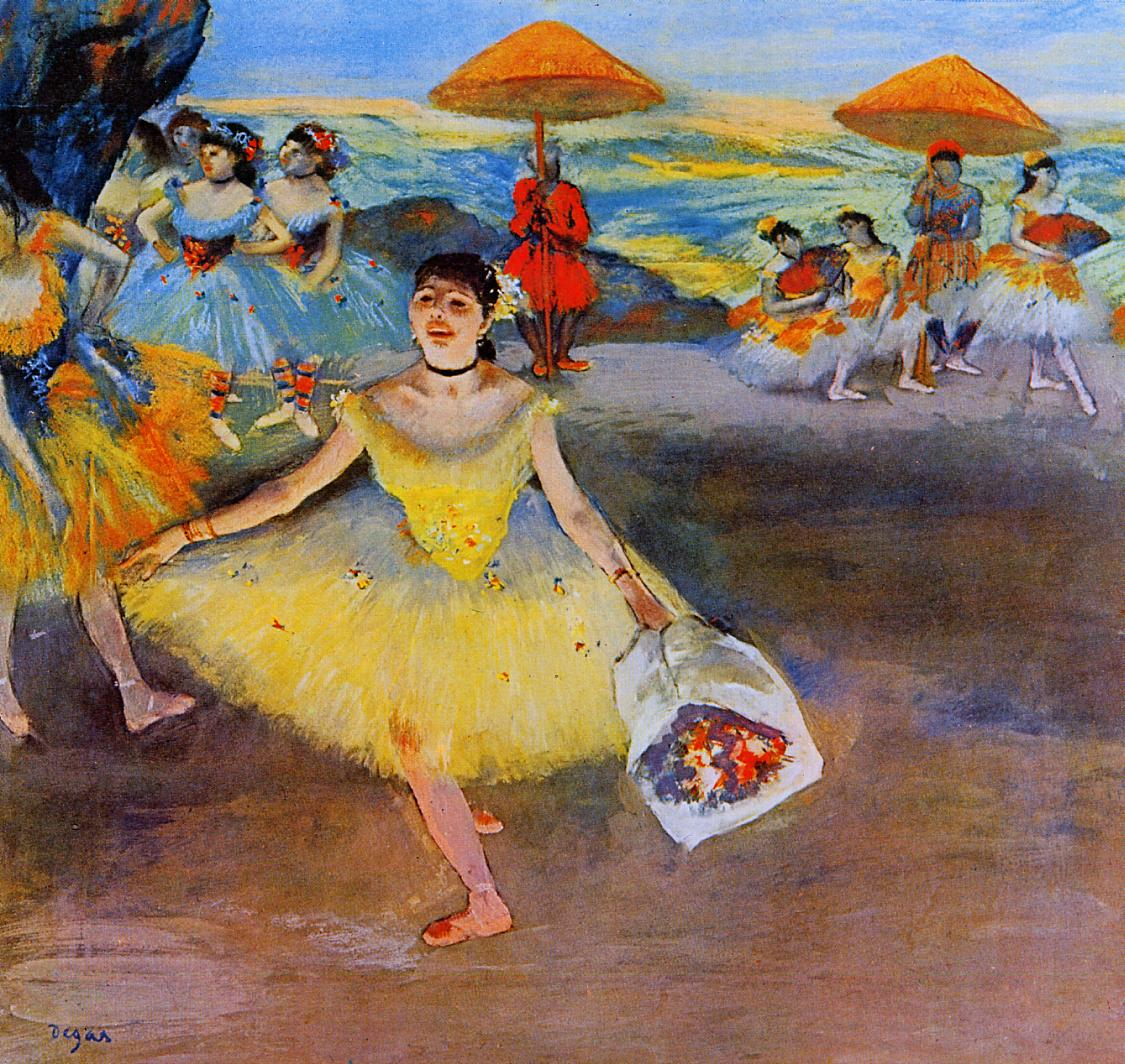 Dancer with a Bouquet Bowing 1877   Edgar Degas   Oil Painting