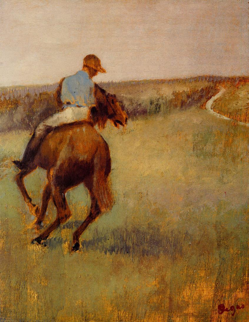 Jockey in Blue on a Chestnut Horse 1889 | Edgar Degas | Oil Painting