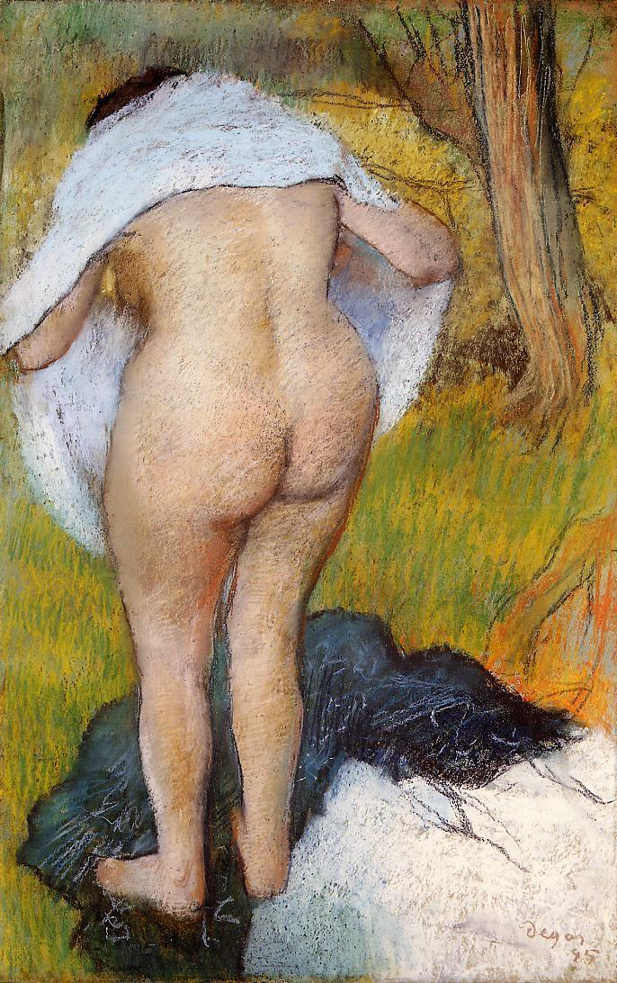 Nude Woman Pulling on Her Clothes 1885 | Edgar Degas | Oil Painting