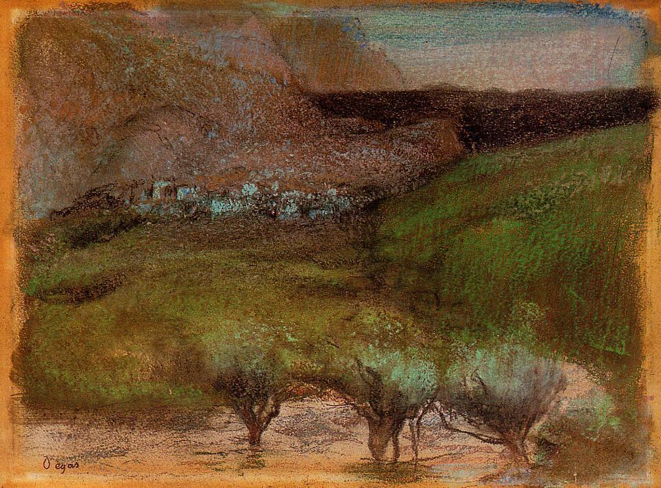 Olive Trees against a Mountainous Background 1890-1893 | Edgar Degas | Oil Painting