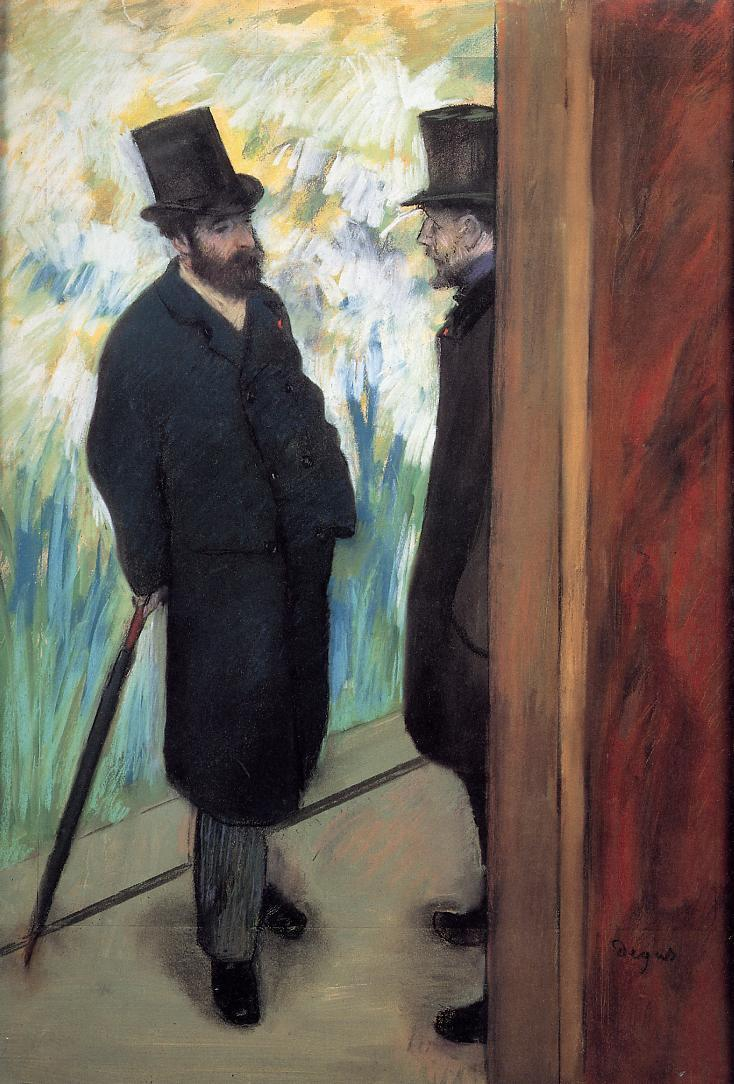 Portrait of Friends in the Wings (aka Ludovic Halevy and Albert Cave) 1879 | Edgar Degas | Oil Painting