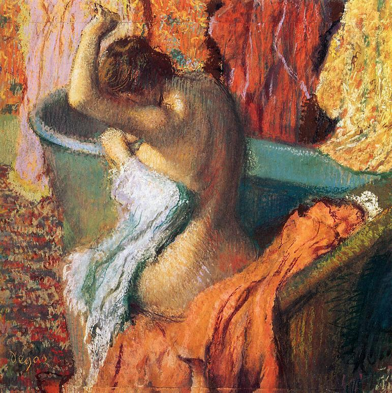 Seated Bather Drying Herself 1895   Edgar Degas   Oil Painting