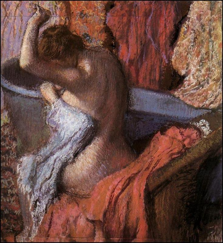 Seated Bather Drying Herself 1899   Edgar Degas   Oil Painting