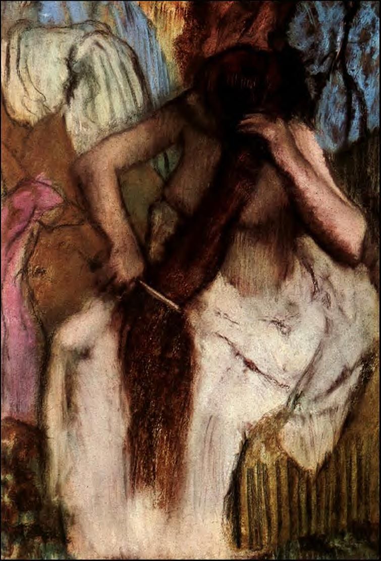 Seated Woman Combing Her Hair 1887-1890   Edgar Degas   Oil Painting