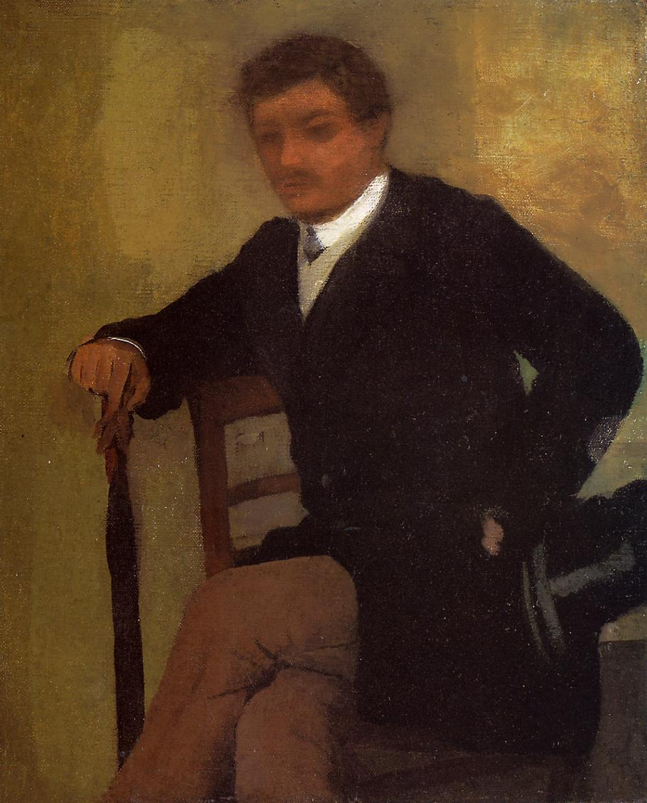 Seated Young Man in a Jacket with an Umbrella 1864-1868 | Edgar Degas | Oil Painting
