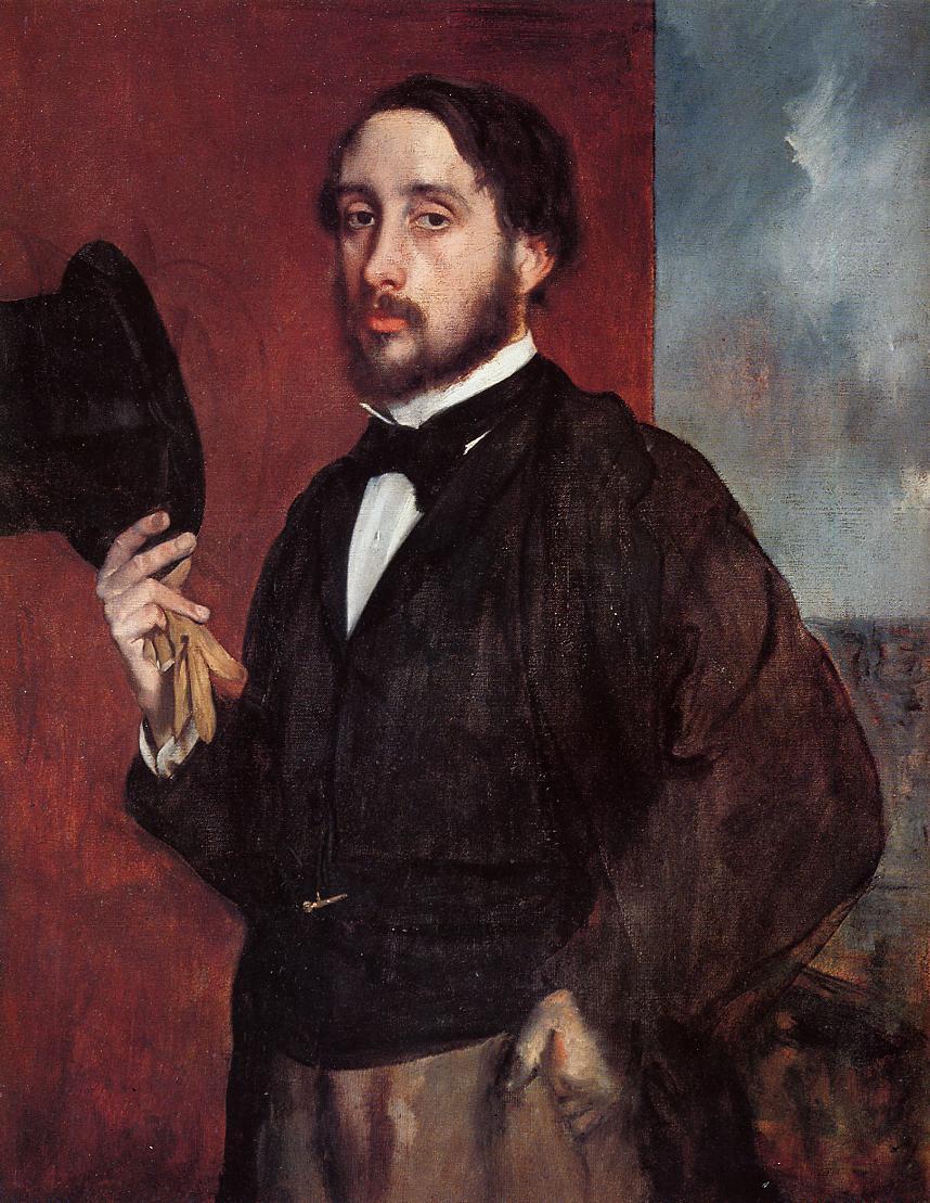 Self Portrait Saluting 1865-1866 | Edgar Degas | Oil Painting