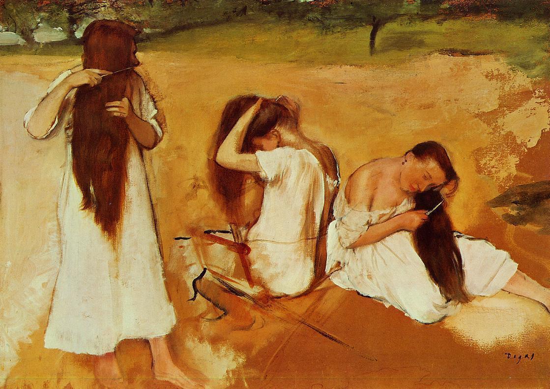 Three Women Combing Their Hair 1875-1876 | Edgar Degas | Oil Painting