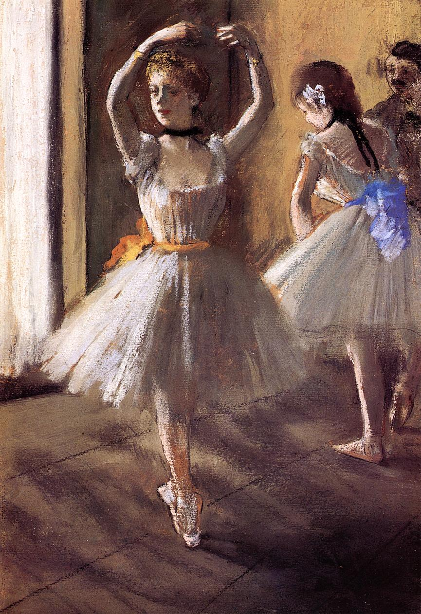 Two Dancers in the Studio (aka Dance School) 1875 | Edgar Degas | Oil Painting