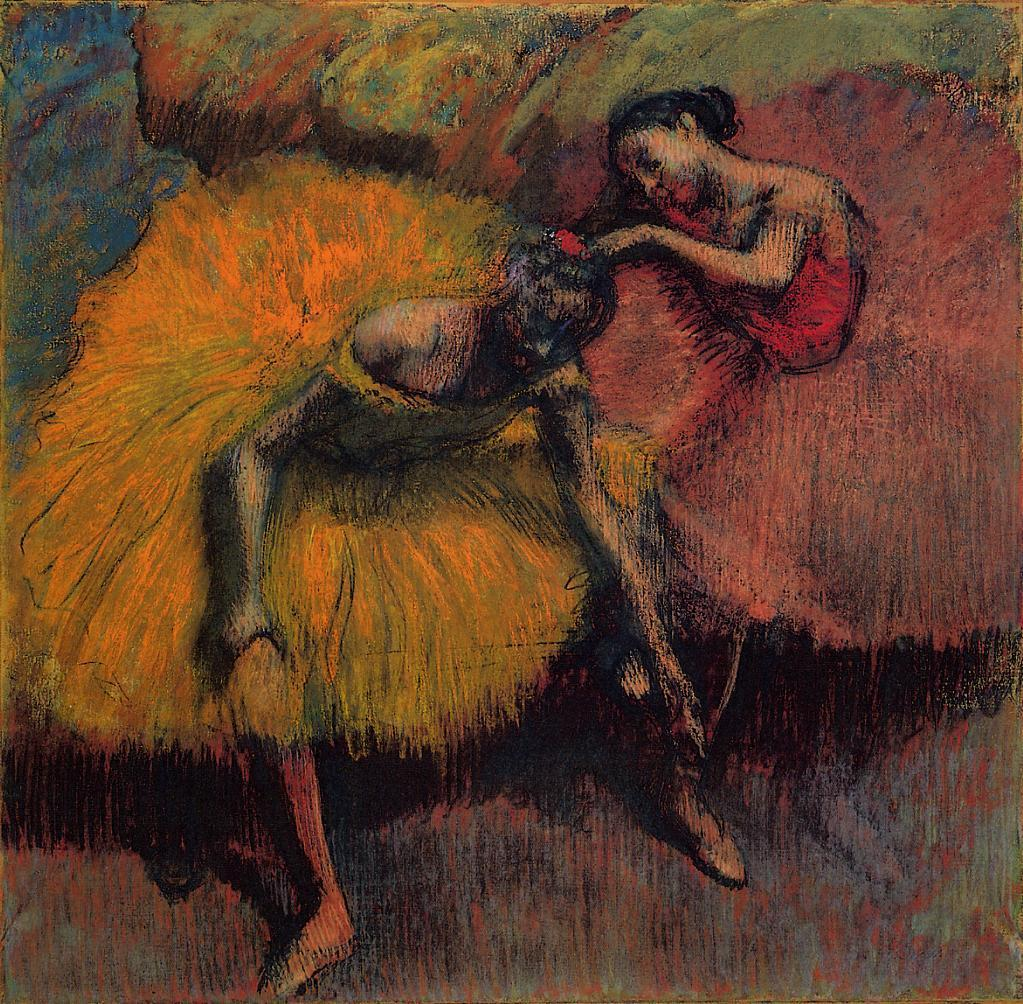Two Dancers in Yellow and Pink 1900 | Edgar Degas | Oil Painting